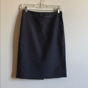 Navy Polka Dot Pencil Skirt